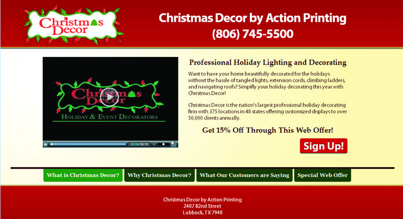 Christmas Decor Landing Page